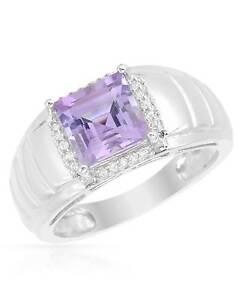 Gentlemens Ring W/2.54ctw Genuine Amethyst & CZ in 925 Sterling silver Size 11