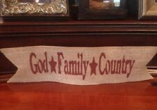 Primitive Burlap Ribbon Banner God Family Country Ornament Garland Patriotic Red