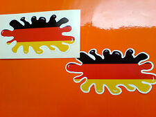 "GERMAN GERMANY FLAG SPLAT  Van Car Bumper Helmet Stickers Decals 4"" or 100mm"