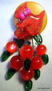 ARTIST PIN BROOCH Yellow BAKELITE RED Scottie Dog LUCITE Cherries NEW DESIGN