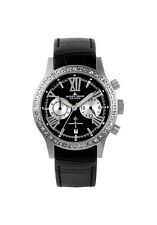 JACQUES LEMANS 1527A   Swarovski crystal black leather band NEW