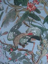 250cm THIBAUT Low Country curtain fabric remnant - vintage floral/bird design