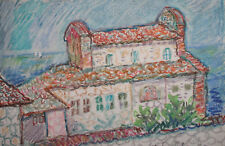 Vintage pastel painting fauvist landscape monastery signed