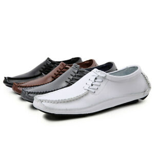 Mens Casual Loafers Soft Round Toe Flat Heel Outdoor Driving Lace Up Cosy Shoes