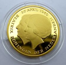Netherlands 10 Gulden 1980 Silver Coin Proof with 24k Gold Plated Beatrix (T47)