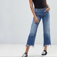 Free People High Rise Distressed Frayed Hem Button Fly Denim Jeans NWT Size 28