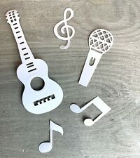 Stanzschablone/ Cutting dies Musik Mix Gitarre Noten Mikro bis12x4,5 cm, 5 tlg.