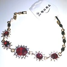 Women's Red Crystal Bracelet Gold Filled New With Tag