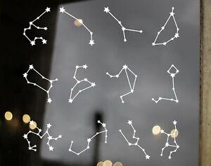 12 Constellation Vinyl Decals - Stars Zodiac Astrology Signs - Die Cut Stickers