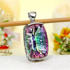 925 Silver Mystic Rainbow Topaz Woman Pendant Chain Chocker Necklace 24 inches
