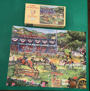 A Day at The Races 300 pc Jigsaw Puzzle SunsOut COMPLETE See Photos