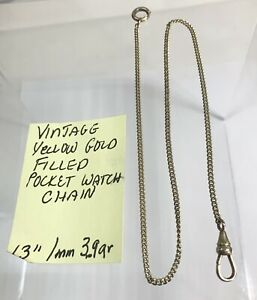 """Vintage Yellow Gold Filled Pocket Watch Chain 13"""" 1mm 3.9gr"""
