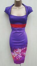 KAREN MILLEN PURPLE & RED FLORAL ROSE PRINT RARE GALAXY PENCIL DRESS 10 UK