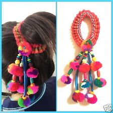 Hair Rubber Ponytail Woman Fashion Headband Multi Color Knitting Wool & Bead H02