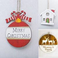 3x Christmas Wooden Plaque Tree Pendants Hanging Décor Home Xmas Ornaments Craft