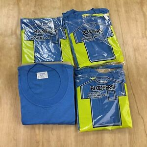 Lot of 4 70s 80s Bloopers blank blue pocket tee t-shirt MEDIUM deadstock usa