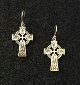 """Sterling Silver Earrings Cross Celtic Irish Dangle 1.25"""" 3.7g 925 #1633"""