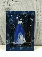 "ACEO Artist Trading Card ""Christmas Penguins Family"" Artist Hand Made Glitter"