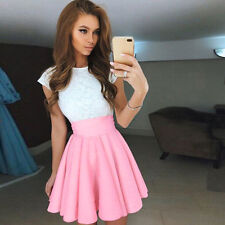 Women Lace Party Cocktail Mini Dress Slim Summer Bridesmaid Evening Skater Skirt