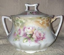 Triple Crown China Covered One Quart Vegetable Bowl Green Gold & Roses Germany