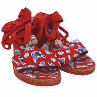 Authentic CHANEL CC Shoes Sandals Red Canvas Raffia Vintage AK28787