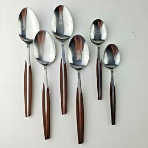 Vintage Eldan Brown Stainless Steel Flatware Silverware - Serving & Teaspoons