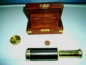Antique Brass And Leather Spyglass Telescope Comes With A Wood Box With Brass