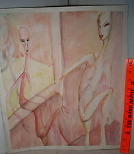 LP17 (C3) ODD Outsider Art Alien Shadow Portrait Watercolor Unsigned