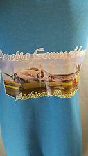 Amelia Earnhardt Atchison Kansas T Shirt Blue Size 2 XL Plane Travel Missing