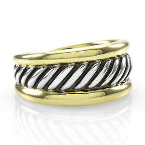 David Yurman Cable Ring  in Sterling Silver and 18K Yellow Gold