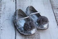 Stride Rite Toddler Sz 5 Girls Silver Sparkling Sequins Shoes Flower