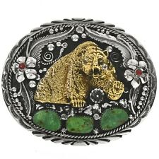 Navajo Turquoise Coral Stones Gold Bear Silver Belt Buckle