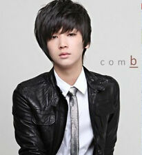 Men Cool Straight Black Short Boy Hadnsome Synthetic Hair Cosplay Full Wigs