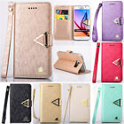 Luxury Leather Flip Credit Card Slots Stand Cover Wallet Case For Samsung iPhone