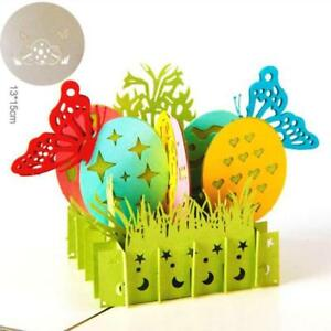 Handmade Easter Gift Color Animals Paper Cut Cartoon Butterfly Greeting Card YS