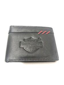Mens Black Harley Davidson Leather Wallet Nw