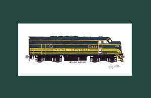 """Maine Central F3 #672 11""""x17"""" Matted Print Andy Fletcher signed"""