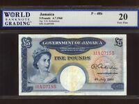 Jamaica:P-48b,5 Pounds,1960 * Queen Elizabeth II * RARE * WBG VF 20 *