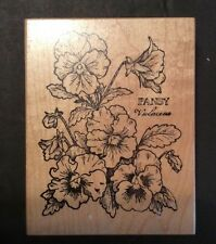 PSX Pansy Violaceae Violet K-774 Botanicals Wood Mounted Rubber Stamp 3.5 X 4.5