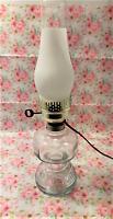 Vintage Electrified Clear Glass Oil Lamp Kerosene Lantern w/ Frosted Chimney