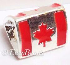 *CANADA FLAG*_European Spacer Slider Bead for Charm Bracelet_Country Red_E33