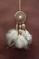 0Women Christmas mum Gift Feather DREAM CATCHER Retro Beach Necklace Long Chain