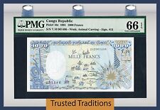 "TT PK 10c 1991 CONGO REPUBLIC 1000 FRANCS ""ELEPHANT"" PMG 66 EPQ ONLY TWO FINER"