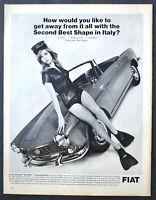 1966 FIAT 1500 Spider Convertible Car AD Woman Scuba Diver Shorty Wet Suit
