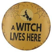 Round Vintage Tin Signs Plaque Wall Art Poster Bar Pub A WITCH LIVES HERE