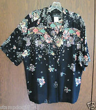 Womens Black Floral Shirt/Blouse size 10, career , Material from Germany