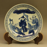 Chinese Old Blue and White Characters Pattern Porcelain Plate