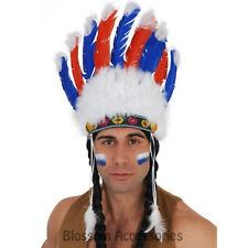 A809 Native Indian Headpiece Blue & Red Feathers Costume Headband Headdress