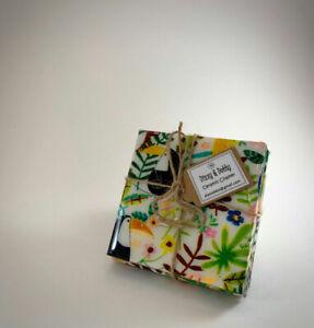 Set of 4 high gloss Toucan design ceramic coasters