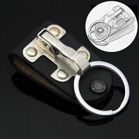 Stainless Steel Black Leather Detachable Key Chain Belt Clip Ring Holder